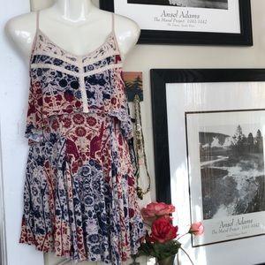 Exote red/white/blue lacey spaghetti strap dress S
